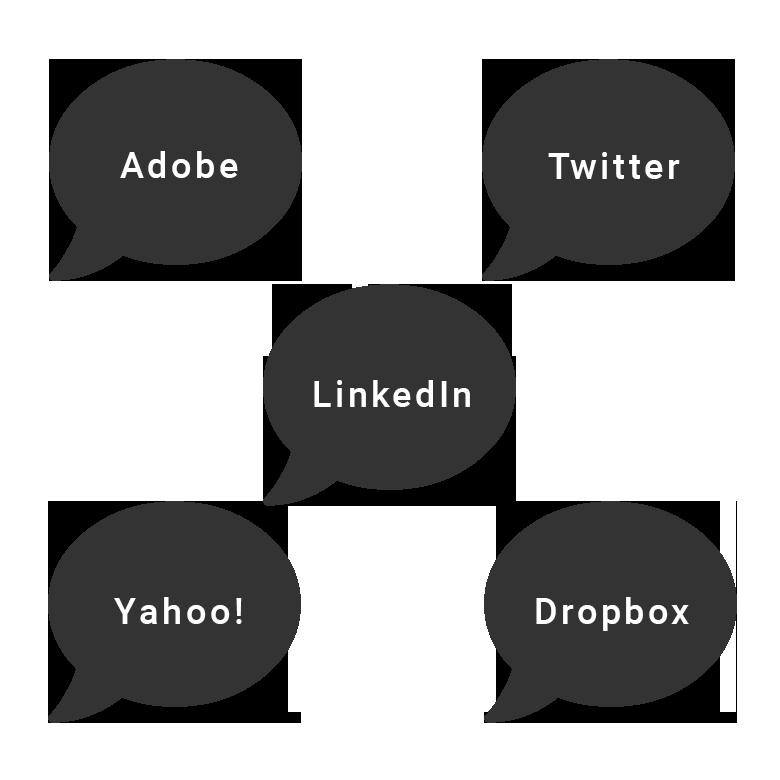 Adobe, Twitter, LinkedIn, Yahoo!, Dropbox