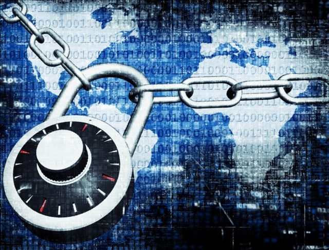 pad lock securing the world. represents Web security protecting the whole globe.